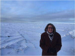 Dr. JoAnn Cox, our Alaska project leader, at the top of the world in Barrow, AK.